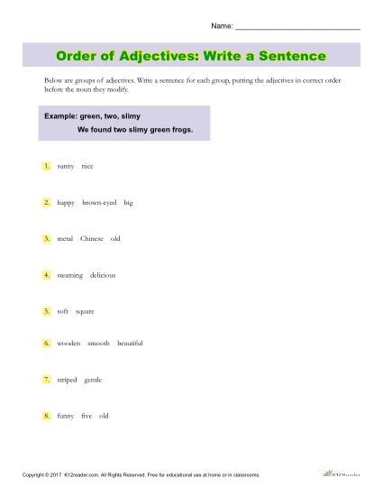 Order of Adjectives Activity - Write a Sentence