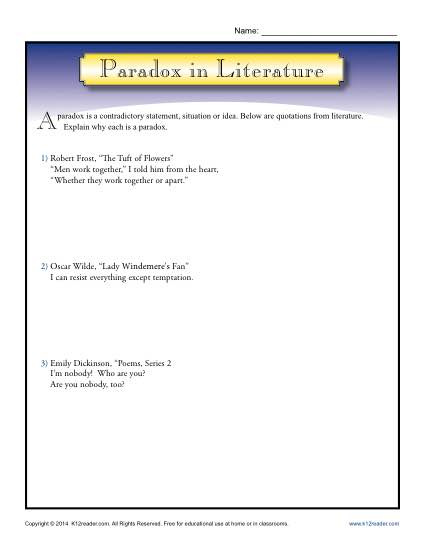 paradox in literature figurative language worksheets. Black Bedroom Furniture Sets. Home Design Ideas
