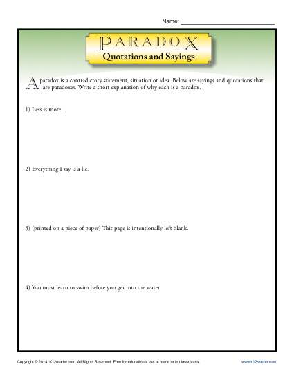 Paradox Quotations and Sayings - Printable Worksheet Lesson Activity
