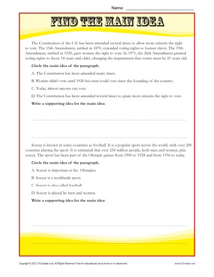 Middle School Main Idea Reading Passage Worksheet