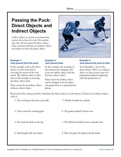 Direct and Indirect Objects Worksheet - Hockey Theme
