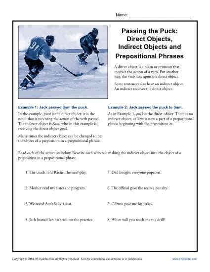 Passing The Puck Direct Objects Indirect Objects And Prepositional