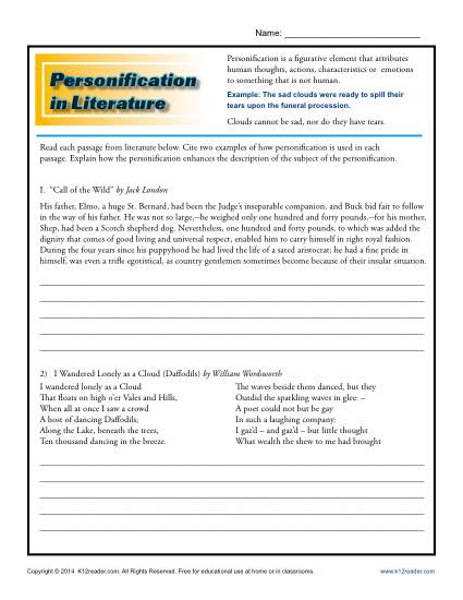 Personification in Literature - Worksheet Lesson Activity