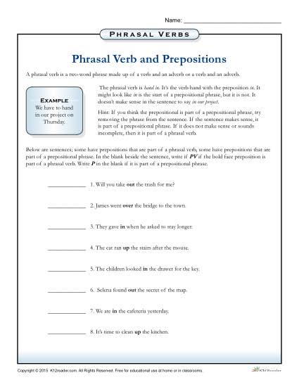 Phrasal Verbs and Prepositions Printable Worksheet