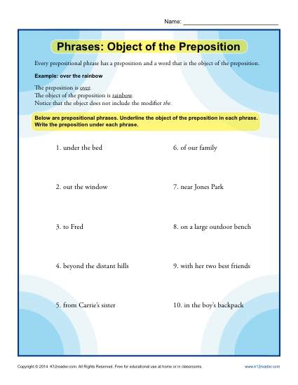 Phrases - Object of the Preposition worksheet