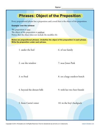 Phrases - Object of the Preposition worksheet