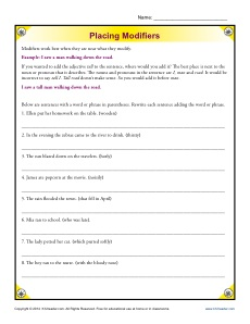 Placing modifiers Worksheet Activity