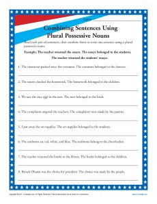 Plural Possessive Nouns Printable Activity