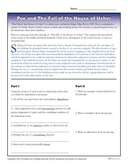 Edgar Allan Poe - Free, Printable Activity About The Fall of the House of Usher