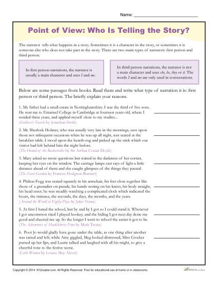 point of view worksheets who is telling the story. Black Bedroom Furniture Sets. Home Design Ideas