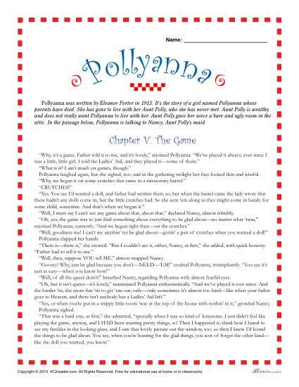 Printable Pollyanna Reading Comprehension Set