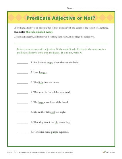 Predicate Adjective or Not? | Grammar Worksheets