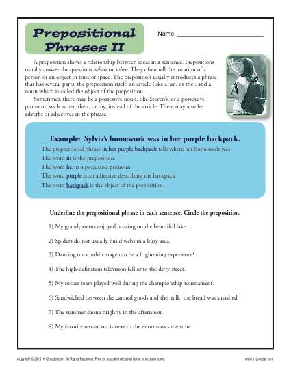 Printable Worksheet Activity to Help Learn About Prepositional Phrases