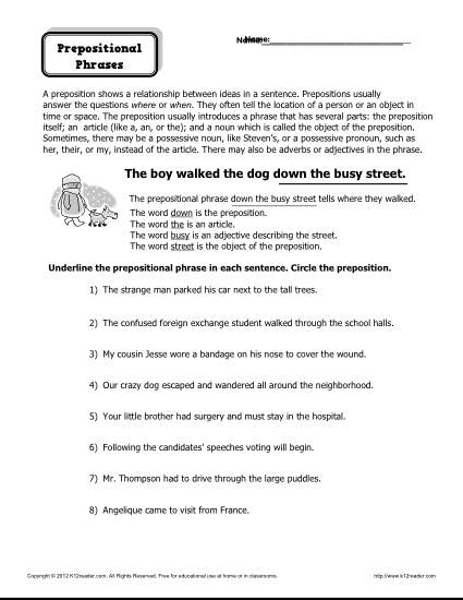 Preposition Worksheet - Prepositional Phrases