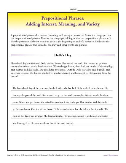 Prepositional Phrases Activity - Adding Interest, Meaning and Variety