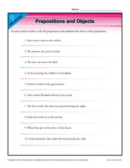 Prepositions and Object Worksheet Activity
