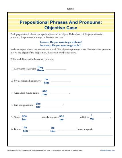 Prepositional Phrases Worksheet Activity - Objective Case