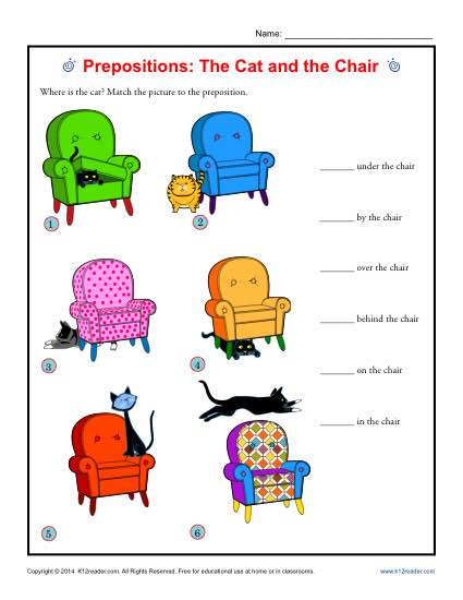 Prepositions: The Cat and the Chair | Prepositional Phrase Worksheets
