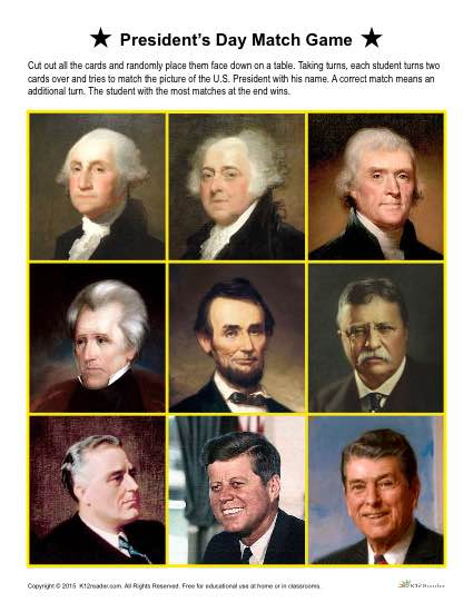 Printable President's Day Match Game Activity