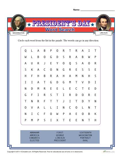 Printable President's Day Word Search Activity