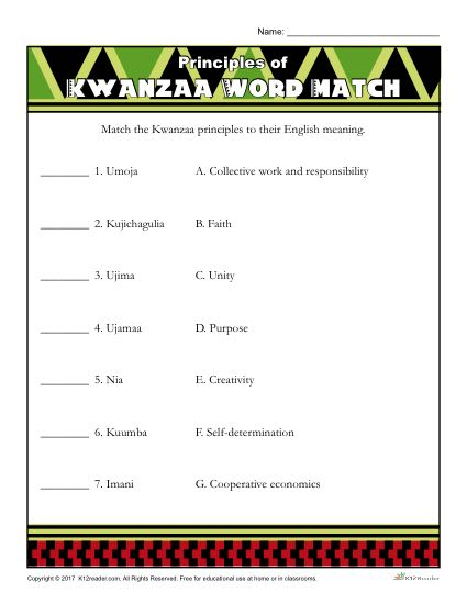 Kwanzaa Printable Activity - Principles of Kwanzaa Word Match