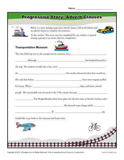 Progressive Story: Adverb Clauses | Clause Worksheets