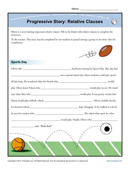 Progressive Story Relative Clauses Worksheet