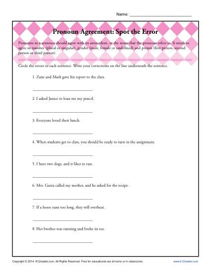 Pronoun Agreement Worksheet Activity - Spot the Error