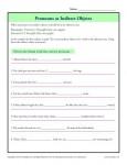 Indirect Objects Worksheet - Pronouns