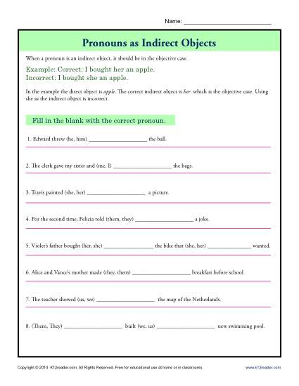 Indirect Objects Worksheet - Pronouns