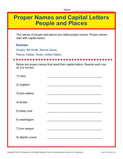 Proper Names and Capital Letters Worksheet: People and Places