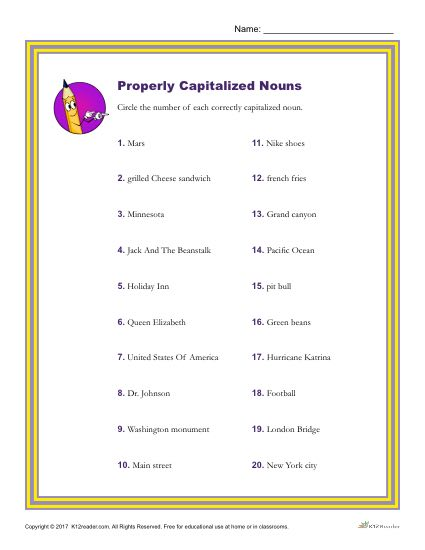 Identify the Correctly Capitalized Nouns