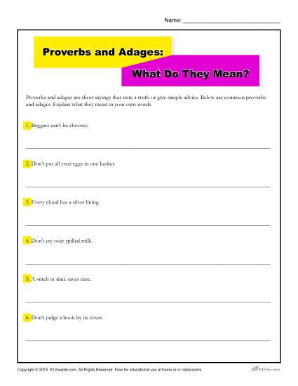Proverbs and Adages Worksheet | What Do They Mean?