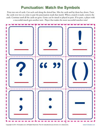 Punctuation Worksheet - Match the Symbols