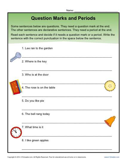 Question Marks and Periods Worksheet Activity
