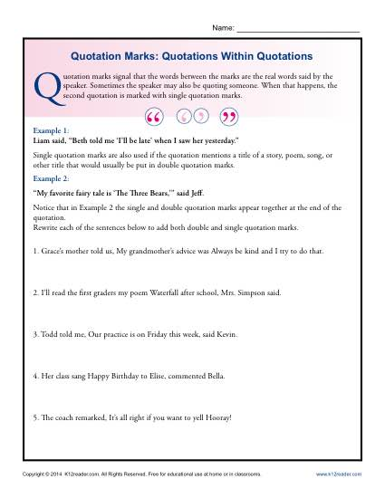 Quotation Marks Quotations Within Quotations  Grammar Worksheets