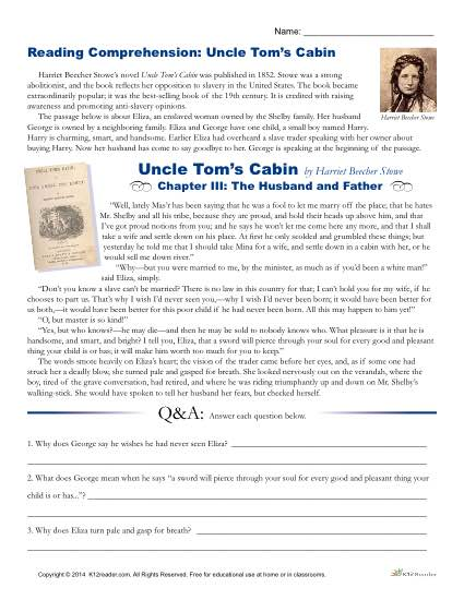 Printable Reading Comprehension Worksheet - Uncle Tom's Cabin