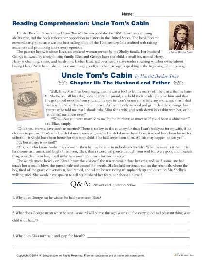 Printable Reading Comprehension Worksheet - Uncle Tom's Cabin
