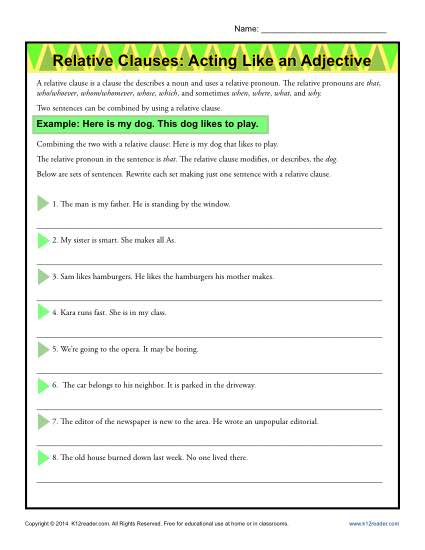 Relative Clauses Worksheet - Acting Like an Adjective