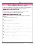 Relative Clauses Worksheet - Breaking Apart