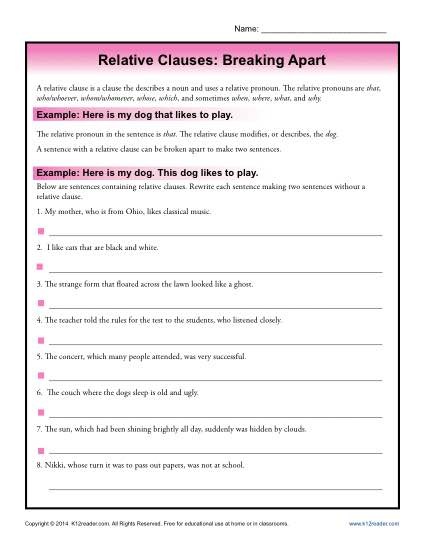 Relative Clauses Worksheet - Breaking Apart