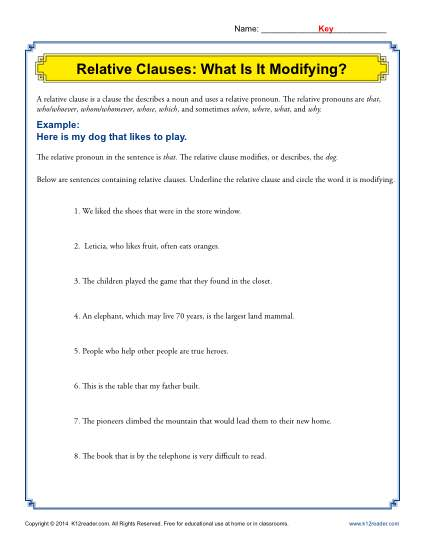 Relative Clauses What Is It Modifying Grammar Worksheets