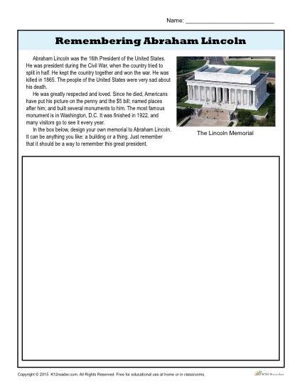 Remembering Abraham Lincoln - Memorial Writing Prompt Activity