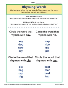 Rhyming Words Worksheet For Kindergarten Words That