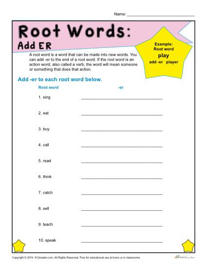 Printable Root Words Worksheet - Adding ER