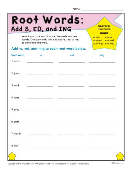 Printable Root Word Worksheet - Add S, ED, and ING