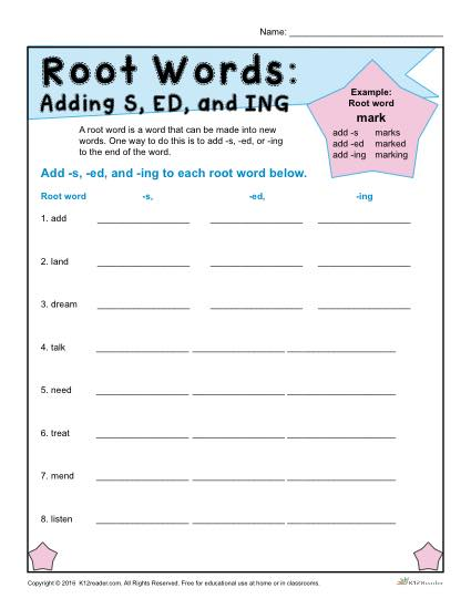 Printable Root Word Worksheet - Adding S, ED, and ING