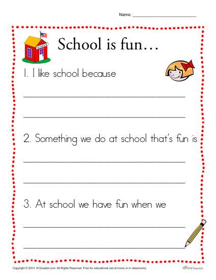 School Is Fun Writing Prompt For Kindergarten Students