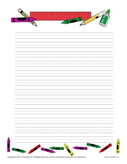 School Themed Lined Writing Paper for Kids