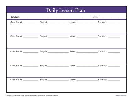 Daily MutiClass Lesson Plan Template With Period  Secondary